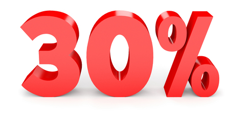 thirty percent off: Thirty percent off. Discount 30 %. 3D illustration on white background.