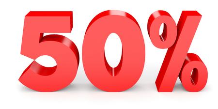 Vijftig procent korting. Korting 50%. 3D illustratie op een witte achtergrond. Stockfoto
