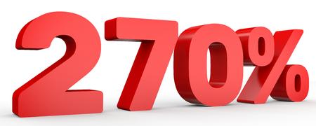seventy: Two hundred and seventy percent. 270 %. 3d illustration on white background. Stock Photo