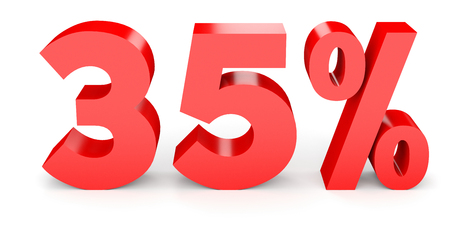 Thirty five percent off. Discount 35 %. 3D illustration on white background. Stock Photo