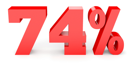 seventy: Seventy four percent off. Discount 74 %. 3D illustration on white background.