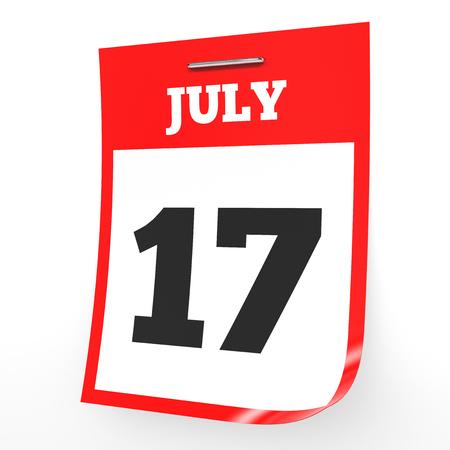seventeenth: July 17. Calendar on white background. 3D illustration.