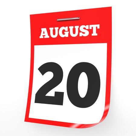August 20. Calendar on white background. 3D illustration. Stock Illustration - 75870386