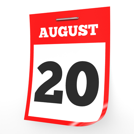 August 20. Calendar on white background. 3D illustration.