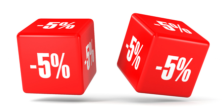 Five percent off. Discount 5 %. 3D illustration on white background. Red cubes.