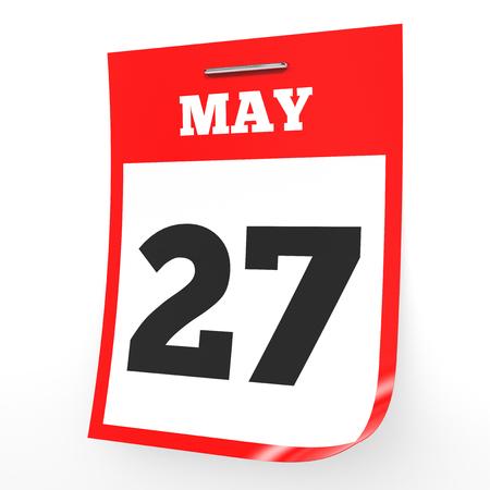 27: May 27. Calendar on white background. 3D illustration.