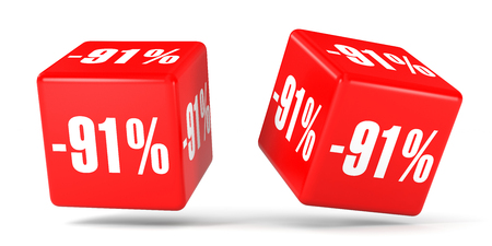 Ninety one percent off. Discount 91 %. 3D illustration on white background. Red cubes.