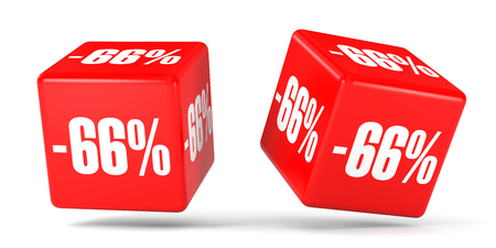 Sixty six percent off. Discount 66 %. 3D illustration on white background. Red cubes. Stock Photo
