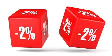 Two percent off. Discount 2 %. 3D illustration on white background. Red cubes. Stock Photo