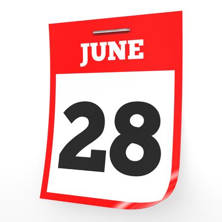 6 월 28 일입니다. 흰색 배경에 일정입니다. 3D 그림입니다. 스톡 콘텐츠 - 75870477