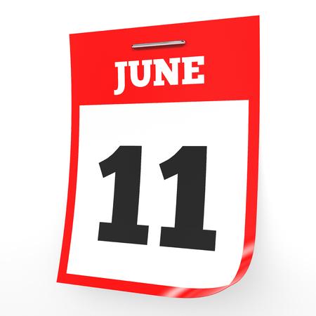 June 11. Calendar on white background. 3D illustration. Stock Photo