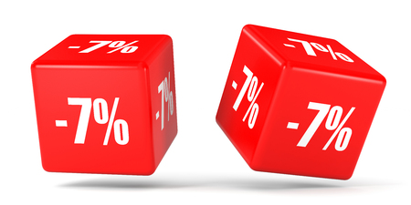 Seven percent off. Discount 7 %. 3D illustration on white background. Red cubes.