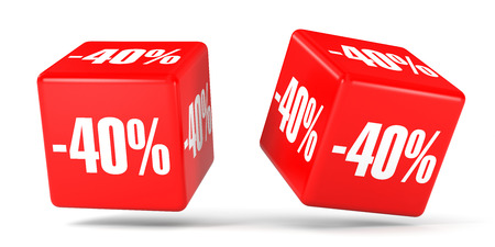 40: Forty percent off. Discount 40 %. 3D illustration on white background. Red cubes. Stock Photo