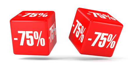 seventy: Seventy five percent off. Discount 75 %. 3D illustration on white background. Red cubes.