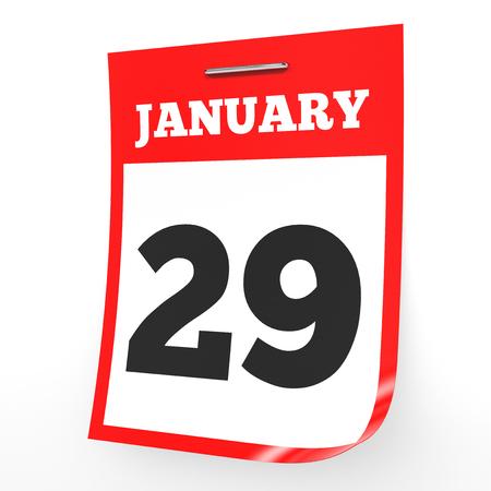 twenty ninth: January 29. Calendar on white background. 3D illustration.