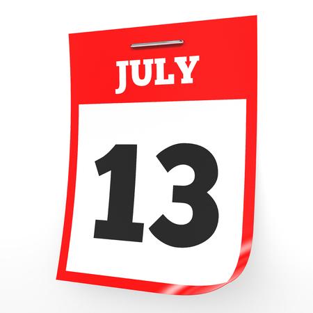 13th: July 13. Calendar on white background. 3D illustration.