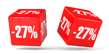 27: Twenty seven percent off. Discount 27 %. 3D illustration on white background. Red cubes.