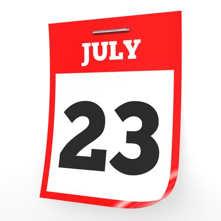 July 23. Calendar on white background. 3D illustration. Stock Photo