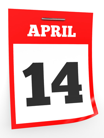 fourteenth: April 14. Calendar on white background. 3D illustration. Stock Photo