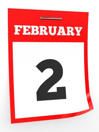 2 months: February 2. Calendar on white background. 3D illustration. Stock Photo