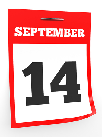 fourteenth: September 14. Calendar on white background. 3D illustration.