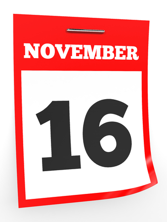 sixteenth note: November 16. Calendar on white background. 3D illustration.