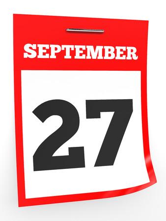 27: September 27. Calendar on white background. 3D illustration.