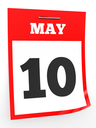 10th: May 10. Calendar on white background. 3D illustration. Stock Photo