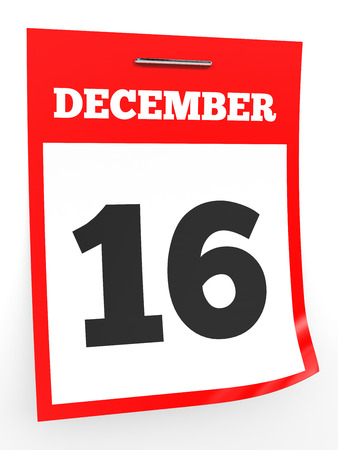 sixteenth note: December 16. Calendar on white background. 3D illustration. Stock Photo