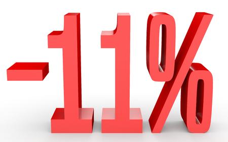 Minus eleven percent. Discount 11 %. 3D illustration on white background.