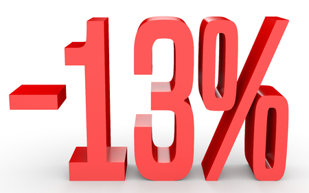 Minus thirteen percent. Discount 13 %. 3D illustration on white background. Stok Fotoğraf - 75919012