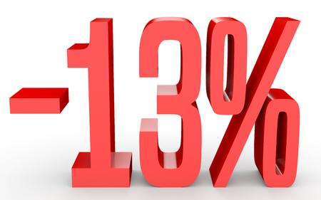 Minus thirteen percent. Discount 13 %. 3D illustration on white background. Stok Fotoğraf
