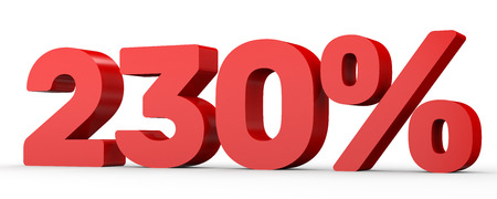 thirty percent off: Two hundred and thirty percent. 230 %. 3d illustration on white background. Stock Photo