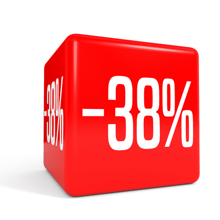 Thirty eight percent off. Discount 38 %. 3D illustration on white background. Red cube.
