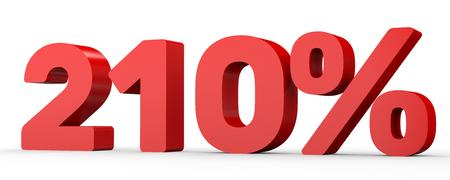 numero diez: Doscientos diez por ciento. 210%. 3d ilustración sobre fondo blanco. Foto de archivo
