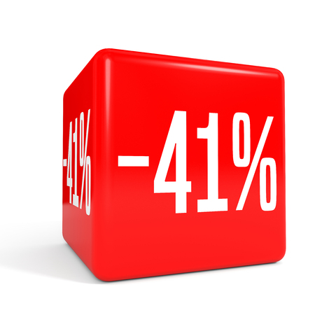 Forty one percent off. Discount 41 %. 3D illustration on white background. Red cube.