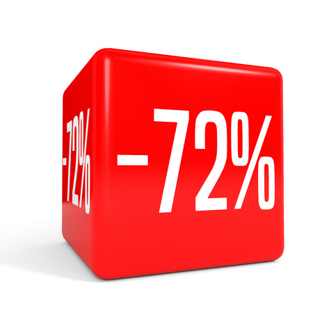 seventy two: Seventy two percent off. Discount 72 %. 3D illustration on white background. Red cube.