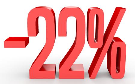 Minus twenty two percent. Discount 22 %. 3D illustration on white background.