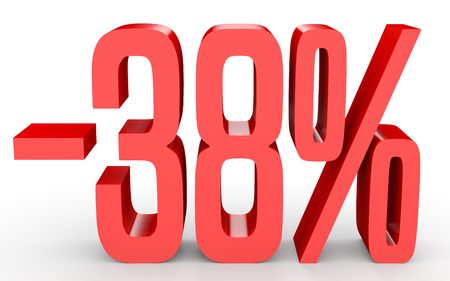 Minus thirty eight percent. Discount 38 %. 3D illustration on white background. Stock Photo