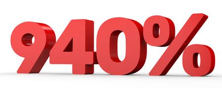Nine hundred and forty percent. 940 %. 3d illustration on white background.