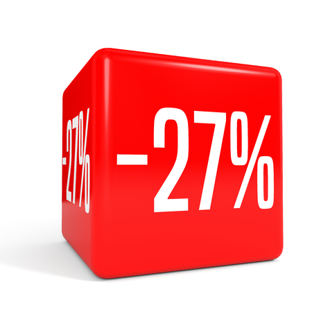 27: Twenty seven percent off. Discount 27 %. 3D illustration on white background. Red cube.