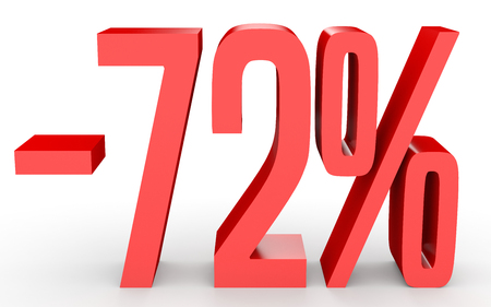 seventy: Minus seventy two percent. Discount 72 %. 3D illustration on white background.