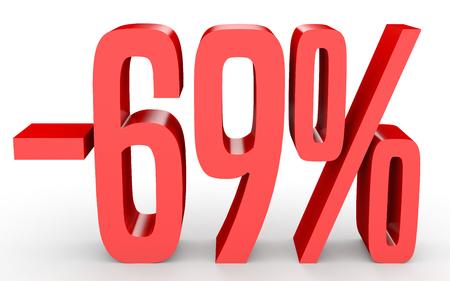 Minus sixty nine percent. Discount 69 %. 3D illustration on white background.
