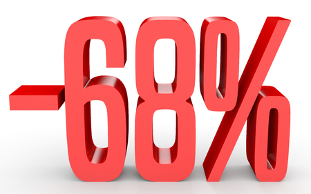 perdidas y ganancias: Minus sixty eight percent. Discount 68 %. 3D illustration on white background. Foto de archivo