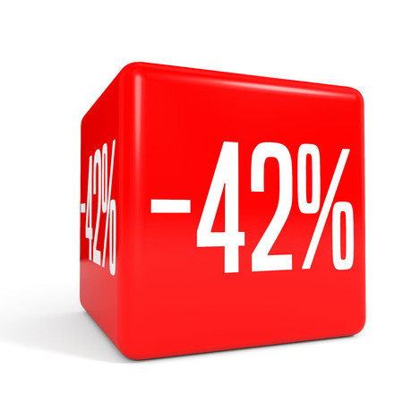 Forty two percent off. Discount 42 %. 3D illustration on white background. Red cube.