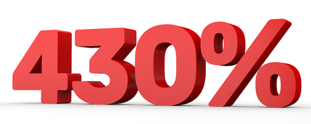 thirty percent off: Four hundred and thirty percent. 430 %. 3d illustration on white background. Stock Photo