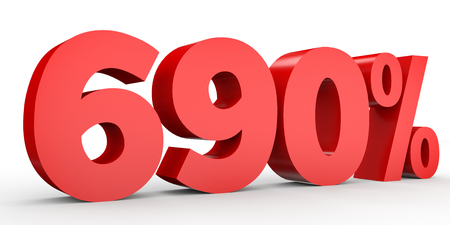 ninety: Six hundred and ninety percent. 690 %. 3d illustration on white background. Stock Photo