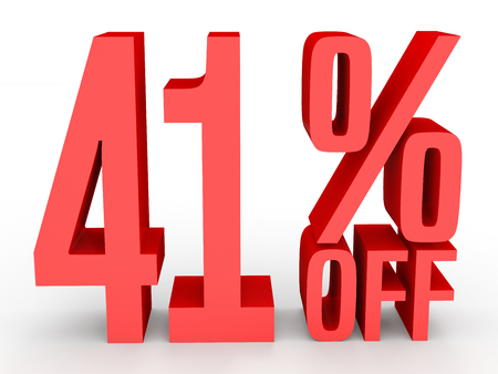 40: Forty one percent off. Discount 41 %. 3D illustration on white background.