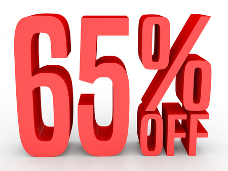 Sixty five percent off. Discount 65 %. 3D illustration on white background.