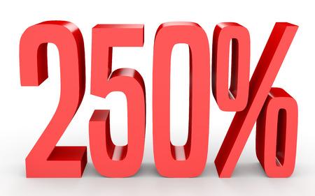 perdidas y ganancias: Doscientos cincuenta por ciento. 250%. Ilustración 3d sobre fondo blanco. Foto de archivo